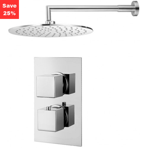 Origins - Onyx Thermostatic Square Shower & Round Overhead