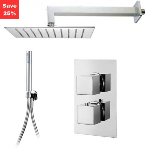 Onyx Thermo Square - Square Overhead & Slim Hand Shower