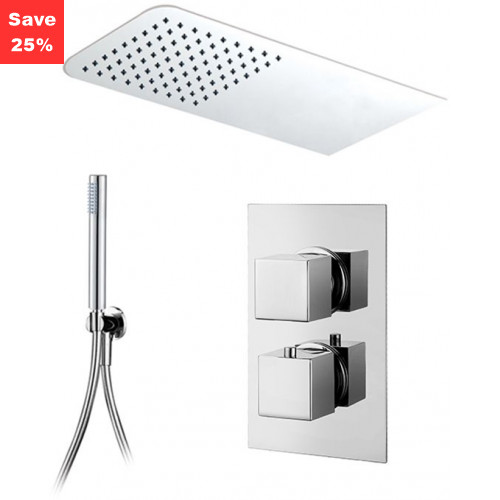 Onyx Thermo Square - Rectangle Head & Slim Hand Shower
